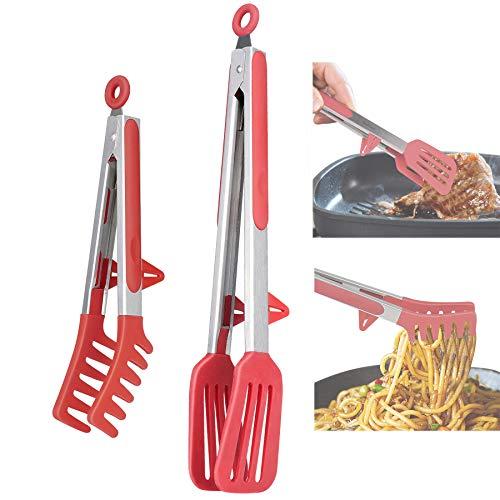 Aschef Pince Cuisine en Silicone Pince Alimentaire Antiadhésive Lot de 2 Pièces avec Embouts en Silicone Résistant à la Chaleur pour Spaghettis Barbecue et Salade Rouge