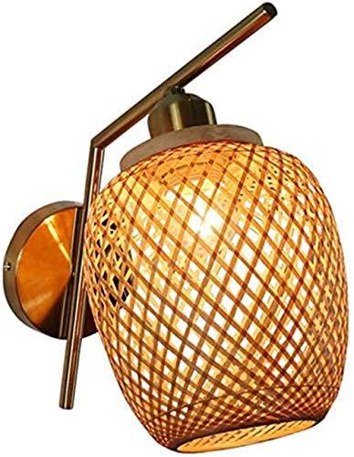 Terreno de Mimbre Natural Linterna Linterna Vintage Rattan Light Bamboo Bar Restaurante Canciones Lámpara de bambú, E27,2