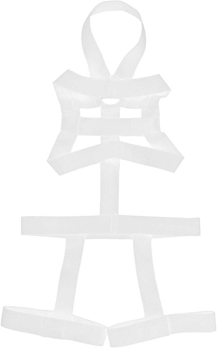 moily Mens Halter Neck Elastic Straps Leotard Bodysuit Full Body Chest Harness Leg Garter Belt