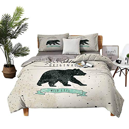 DRAGON VINES Bed Cover Bear Pocket Full of Sheets Vintage Wildlife Label Hunting Theme Icon with Random Dots Predator Paws W103 xL90 Tan Black Mint Green