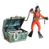 Yakamoz - Cazador de tesoro para acuario, decoración de paisaje, resina, mini adorno submarino para acuario, color naranja