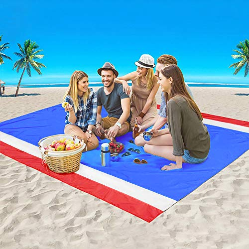 """GZTLJ Beach Blanket,Picnic Blanket Large Sand Free Compact for 7 Persons Water Proof Quick Drying Beach Mat Made by Premium Nylon Pocket Picnic Sheet for Outdoor Travel (78"""" X 81"""") (red)"""