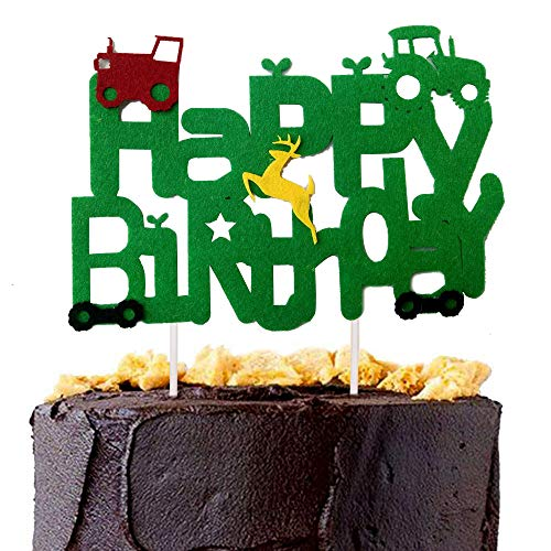 Hongkai Truck Tractor Farm Forest Baby Theme Happy Birthday Cake Cupcake Toppers Picks for Happy Birthday Party First Baby Boy Girl Kids Birthday Party Decorations Supplies