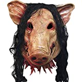LifeWheel Halloween Horror Pig Gesichtsmaske, umweltfreundliche Latexmasken mit Haaren für Cosplay Masquerade