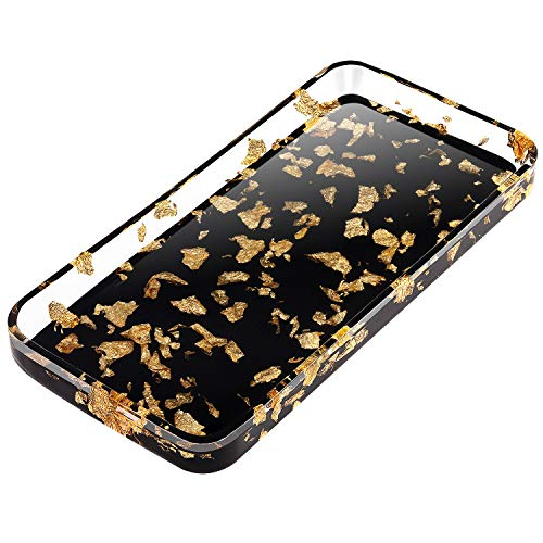 Lewondr Vanity Tray, 31 cm Resin Decorative Trays Serving Tray Bathroom Catchall Tray Storage Tray Bathtub Tray for Wine Glass Toiletries Perfume Tissues Candles Soap Towel Plant - Gold on Black