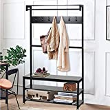 Industrial Modern Coat Rack with Shoe Bench, Vintage Shoe Coat Rack, Hall Tree Entryway ShelfWood Look Accent Furniture with Metal Frame, 3 in 1 Design with Stable Metal Frame