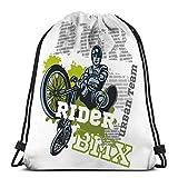 KKs-Shop Bundle Bag con cordón Deporte para Todos BMX Rider Urban Team Freestyle Bike Trial Positivo