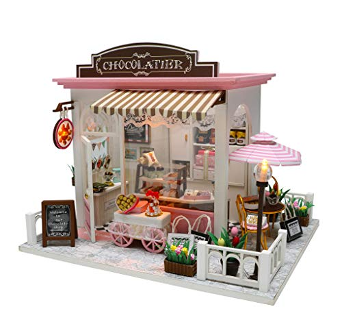 La Petite Maison Wooden DIY Miniature Dollhouse Kit with Furniture Chocolatier Eco Friendly 1:24 Scale. Includes Lights, Music, and Dust Covers