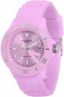 Madison New York - SU4167PU - Montre Mixte - Quartz Analogique - Cadran Rose - Bracelet Silicone Rose