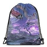 Yuanmeiju Close Encounter Drawstring Backpack Bag Lightweight Gym Travel Yoga Casual Snackpack Shoulder Bag for Hiking Swimming Beach