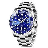 LIGE Relojes Hombre Cronografo Vintage Minimalista Impermeable Acero Inoxidable Azul Cuarzo Relojes de Pulsera