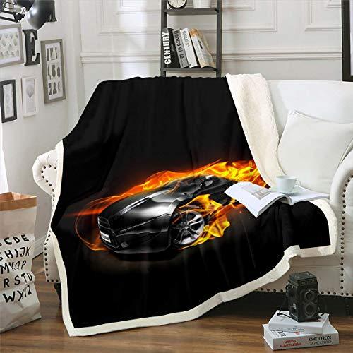 Manta de forro polar para coche, color negro, para niños, adolescentes, deportes, coche, sherpa, manta de felpa deportiva extrema, para decoración del coche, manta difusa para sofá cama, 150 x 152 cm