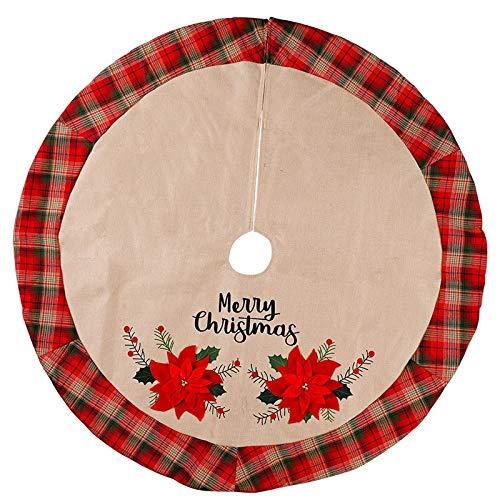 LCY Falda de árbol de Navidad Árbol de Navidad Faldas Año Nuevo decoración tapetes Redondo de la Flor roja del árbol de Navidad de la Cubierta de la Alfombra Delantal Decoración Decoraciones