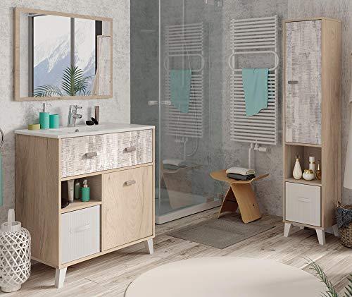 Miroytengo Pack mobiliario baño Anle Color Roble y Collage (Mueble baño+Espejo+Columna+Lavamanos cerámica)