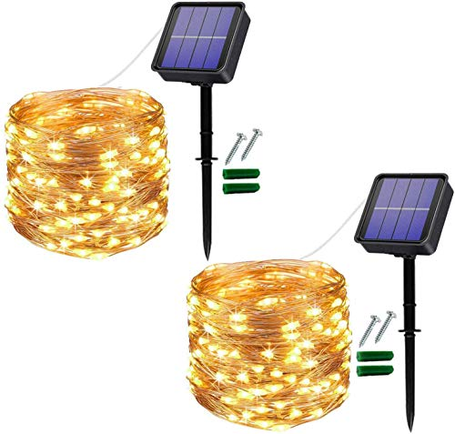 [2 Pack] Solar String Lights Outdoor, 12M 120 LED Fairy String Lights Waterproof Copper Wire Christmas Lights Garden Lights for Patio, Garden Decoration, Trees, Terrace, Weddings, Party. (Warm White)