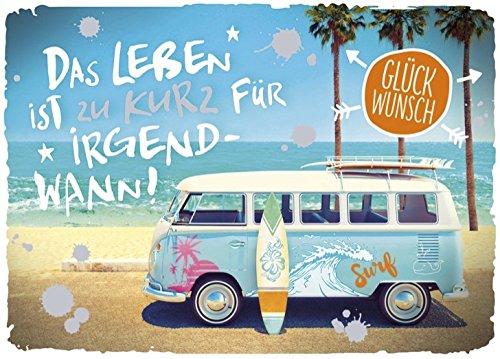 DeCoArt... 1 A5 Glückwunschkarte Bus Das Leben ist zu kurz für irgendwann 17x 23 cm mit Umschlag und 1 Schlüsselanhänger Schutzengel aus Olivenholz Natur ca 6cm