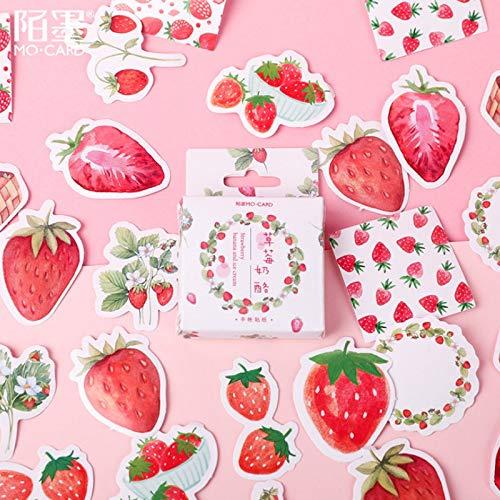 BLOUR 46 Unids/Lote Fruta Rosa Fresa decoración Etiqueta de Papel decoración DIY álbum Diario Scrapbooking Etiqueta Etiqueta Kawaii