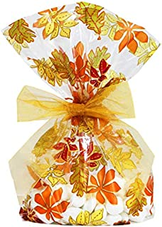 Saybrook Products Fall Autumn Leaves/Thanksgiving Cellophane Treat/Party Favor Bags with Gold Twist-Tie Organza Bow. Set of 10 Gussetted 11x5x3 Goodie Bags with Bows