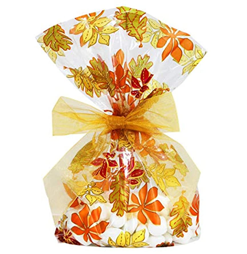 Saybrook Products Fall Autumn Leaves/Thanksgiving Cellophane Treat/Party Favor Bags with Gold Twist-Tie Organza Bow. Set of 10 Ready-to-Use, Gussetted 11x5x3 Goodie Bags with Bows