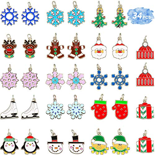 51 Pieces Enamel Christmas Charm Pendant Silver Christmas Tree Snowflake Winter Charms Necklace Bracelet Earrings Clothing Decoration DIY Accessories for Jewelry Making Crafting Supplies