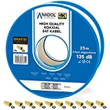 Anadol 5-fach Koaxialkabel - 25m Antennenkabel - wetterfest - Satelliten-Kabel 135db - Eca zertifiziert - 10 F-Stecker [Gold] - HD 4K UHD 3D - Brandschutzkabel Norm EN 50575