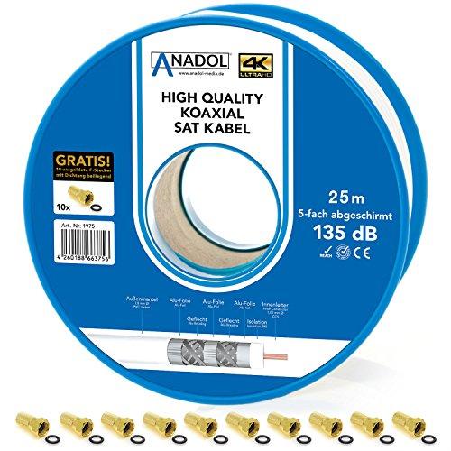Anadol, cavo coassiale di protezione antincendio, 135 dB, bobina da 25 m, 7 mm, schermato a 5 vie, norma EN 50575, classe di protezione antincendio Eca, include 10 spine F placcate in oro 25 m