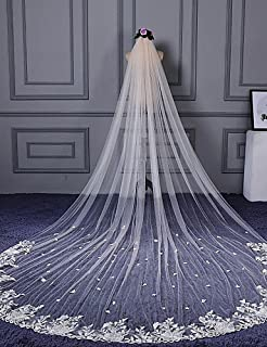 FJY&TS One-tier Cut Edge Lace Applique Edge Wedding Veil Cathedral Veils 53 Scattered Bead Floral Motif Style Appliques Lace Tulle