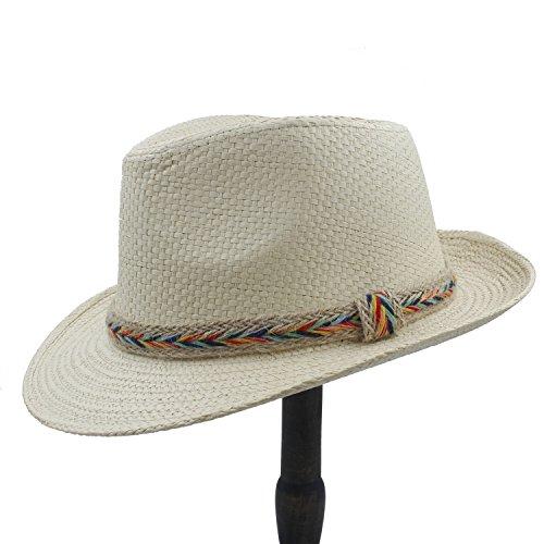 Chlyuan Chlyuan Panama-Fedora-Cap mit breiter Krempe Frauen-Cowboyhut-Sommer-Stroh-Panama-Strand-Sonnenhut-Dame Summer (Farbe : 1, Größe : 56-58cm)