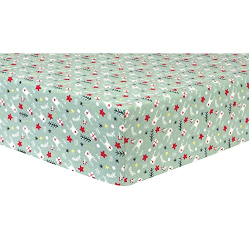 Trend Lab Deluxe Flannel Fitted Crib Sheet, Reindeer Gifts