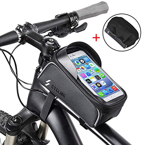 iBesi Bike Phone Case Bag, Waterproof Front Frame Bike Bag Top Tube Mount Bicycle Handlebar Cell Phone Touch Screen Large Capacity Cycling Pack Compatible with iPhone Xs Max X 8 Plus 7 6S Samsung S9