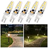 T5 T10 Wedge Base Led Bulbs 12v Low Voltage Landscape, Pyjr Ac/Dc 12V, 2W 200Lm, 3000K Warm White, for Landscape Pathway Lighting, Deck Stair, Step, and Automotive Rv Lights. (Pack of 5)