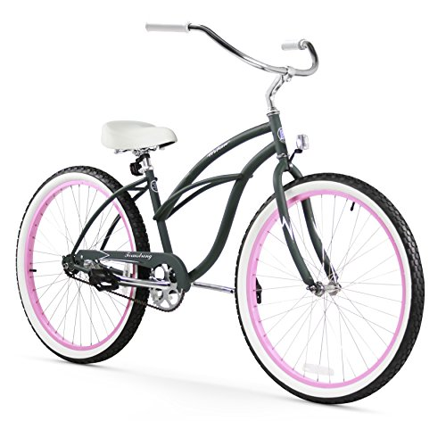 Firmstrong Urban Lady Single Speed 26' Beach Cruiser Bicycle, Army Green/Pink Rims w/ White Seat