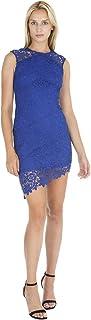 bebe Womens Asymmetrical Lace Dress w/Diagonal Hem