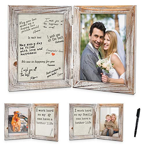 Temgee Signature Engagement Frame - 5X7 White Picture Frame - Solid Wood Funny Picture Frame with 3 Mats, Rustic Photo Frame for Wedding Gifts, Couples, Family, Grandpa,Grandma