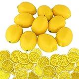 Woohome 30 Pz Giallo Limoni Artificiali 10 Pz Frutti di Limone Finti per La Decorazione Domestica 20 Pz Falso Fetta di Limone Guarnire per Accessori per foto, Decorazioni per La Casa