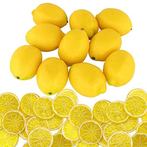 Woohome 30 Stück Künstliche Fruch Künstliche Limetten Künstliche Zitronenscheiben Deko Gefälschte Zitronenscheibe Party Festival Dekoration, Fotografie Requisiten