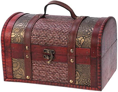 Fulinmen Weinlese-hölzerne Schatzkiste Schmuck Aufbewahrungsbox Aufbewahrungsschachteln Antike Aufbewahrungs Trunk Dekorative Medieval Chest Organizer for Frauen