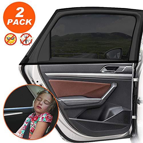 Sonnenschutz Auto Baby mit UV Schutz Sonnenschutz Auto für Kinder Baby Erwachsene Haustiere, Selbsthaftende Universal Sonnenblende Auto Netz - Autofenster Sonnenschutzrollos Heckscheibe - 2 Stück