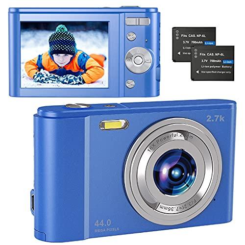 """Compactas Cámaras Digitales, 2.7K UHD Camara Compacta, Vlogging 44MP Camara de Video, Camara de Fotos con Pantalla de 2,8"""" y Zoom 16x y 2 baterías, Camara Digital para niños/Adultos/Mayores"""