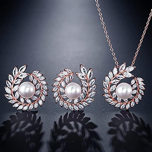 KNWSHT Juego de joyas para mujer, collar y pendientes colgantes, chapado en oro blanco con circonita cúbica AAA blanca para bodas y damas de honor
