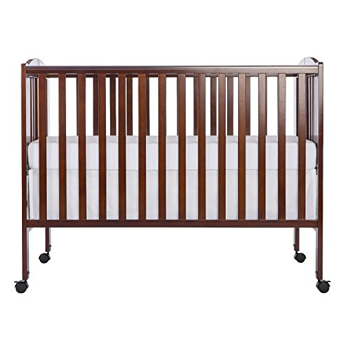 Dream On Me Full Size 2 in 1 Folding Stationary Side Crib, Espresso