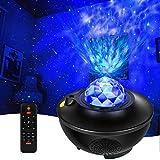 Star Projector Ocean Wave Night Light Projector with Adjustable Lightness Remote Control Timer,3-in-1 Sky Star Ocean Wave Projection Bluetooth Speaker Music Speaker for Kids Adult Bedroom-Black