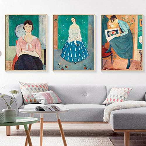MXK Europen Mujeres jóvenes Lienzo Pintura Pared Arte Cartel e imágenes Impresas para Sala de Estar decoración Interior del hogar sin Marco 40x60cm