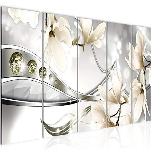 Bilder Blumen Magnolien Wandbild 150 x 60 cm Vlies - Leinwand Bild XXL Format Wandbilder Wohnzimmer Wohnung Deko Kunstdrucke Braun 5 Teilig - MADE IN GERMANY - Fertig zum Aufhängen 207256c