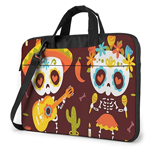 Cartoon Style Day of Dead Autumn Leaves Laptop Case Bag Sleeve Shoulder Messenger Briefcase Portable Computer Bag W/Strap Handle for 13in Laptop