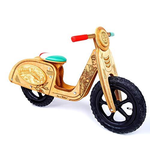 Exklusives Geschenk für Kinder ab 2 Jahren. Laufrad aus holz mit lufreifen. Italienischer Stil balance bike -Caeser