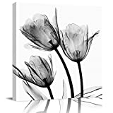 EZON-CH Square Wall Art Canvas Oil Painting, Gray Tulip Flowers X-ray Design Office Artworks for Bedroom Living Room Bathroom Home Decor, Stretched and Wooden Framed Ready to Hang, 12x12 Inch