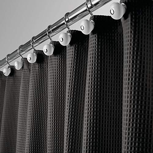 mDesign Luxus Duschvorhang – weicher Badewannenvorhang mit Waffelmuster – pflegeleichter Duschvorhang – Schwarz