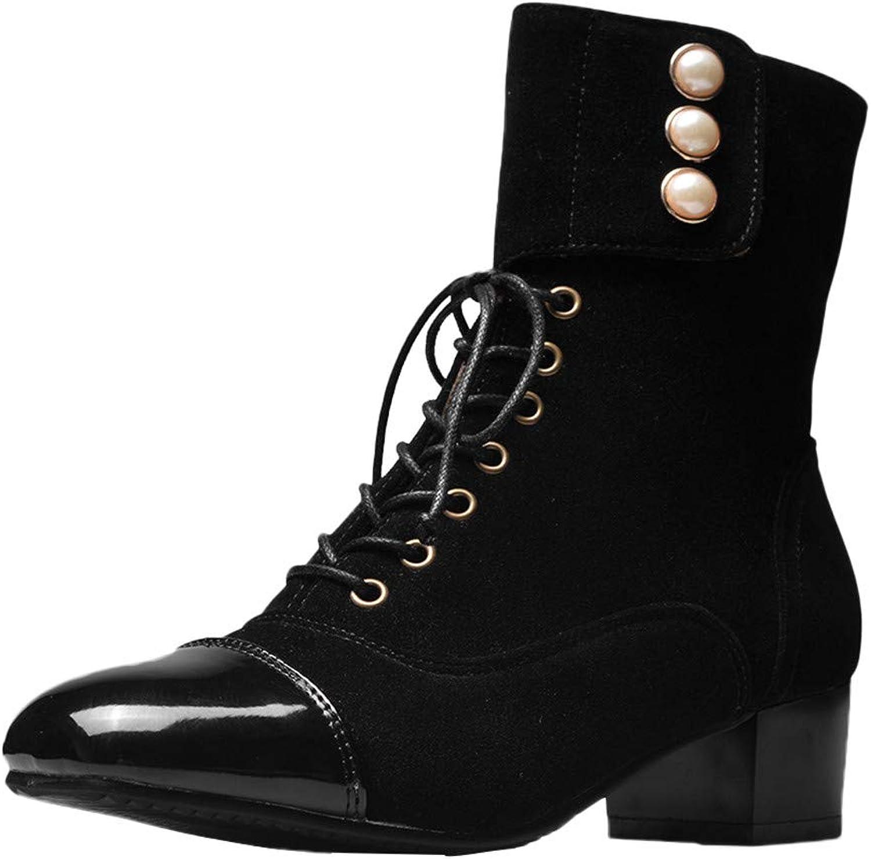 FarJing Women's Leisure Square Head Flat shoes Non-Slip Lace-Up Short Tube Boots