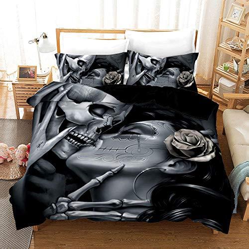Bedclothes-Blanket Juego de Cama Matrimonio,Cubierta 3D 骷髅 Ropa de Cama Digital de Tres Piezas-2_245 * 210
